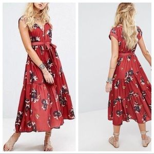 Free People All I Got Red Floral Maxi Dress